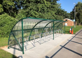 A large covered cycle parking shelter