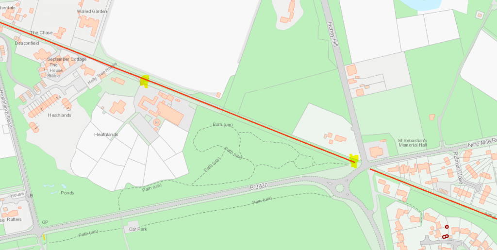 Map of footpath in Wokingham Without