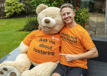 Strictly Come Dancing star Ian Waite and a large teddy bear