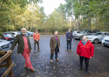 representatives from the parish and borough councils at heath lake car park