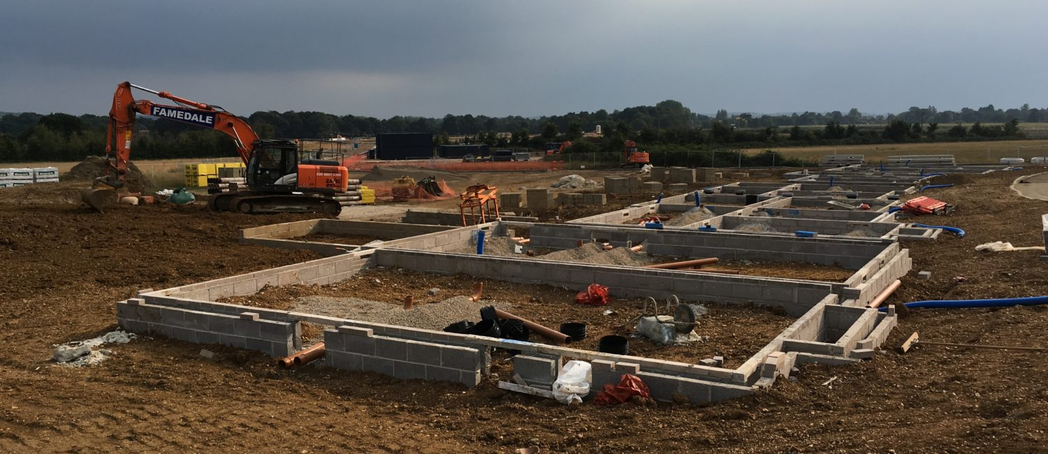foundations being built in a field