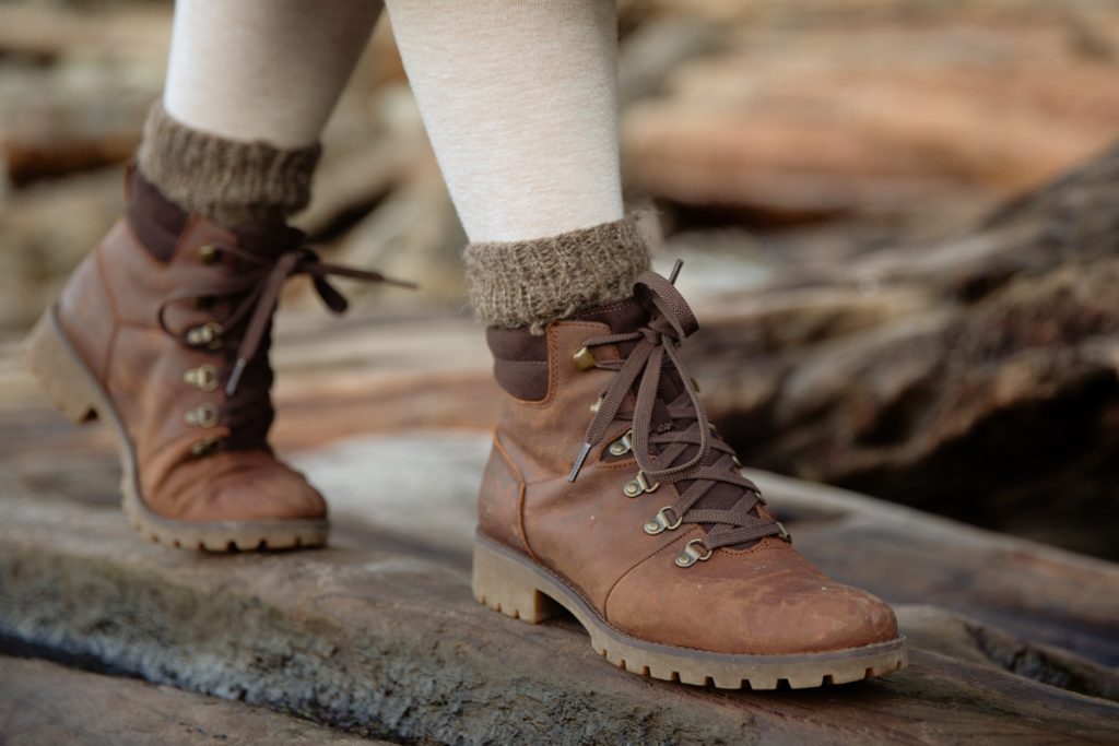 image of boots and lower legs walking
